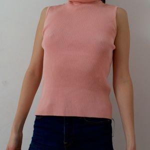 Tops - Ribbed Knit Pink Turtleneck Tank